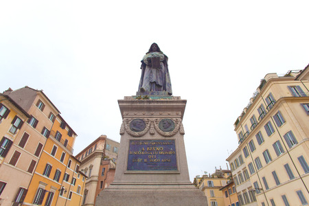 Rome, Italy - January 8, 2017: Giordano Brunos monumental statue in piazza Campo De Fiori, Rome. The monument was erected in 1889 exacty where he was burned alive in february 1600