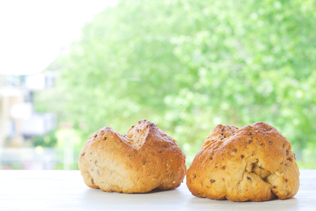 two cereal bread bun with panorama in dof.