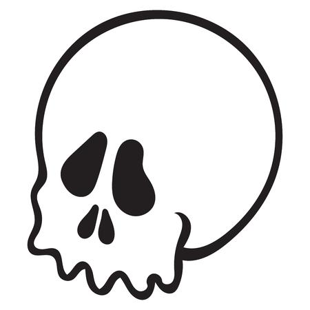 simple skull head sketch on white