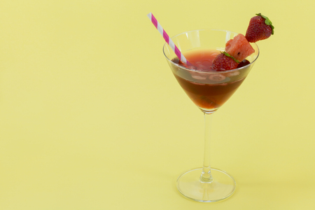 non alcoholic: glass of refreshing drink: strawberry juice. Stock Photo