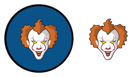 it is full: Scary clown with red  balloon halloween icon