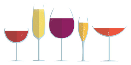Wine Glasses Collection - vector flat style
