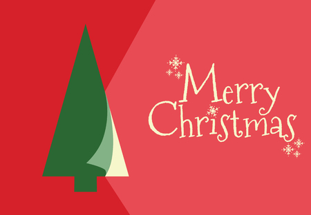 Christmas card design in red background.
