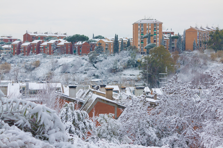 ROME COVERED BY SNOW: PORTUENSE DISTRICT VIEW Stock Photo