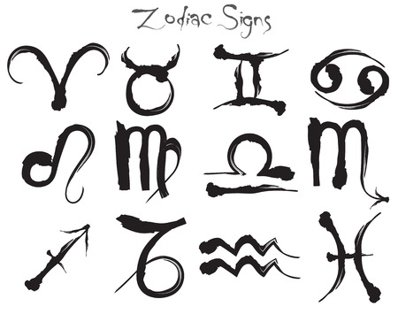 Hand drawn zodiacal signs in ink style.