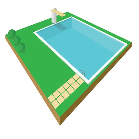 Swimming pool isometric style