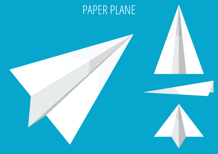 Paper plane origami collection on blue background.