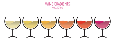 The colors of wine - set of glasses in a row.