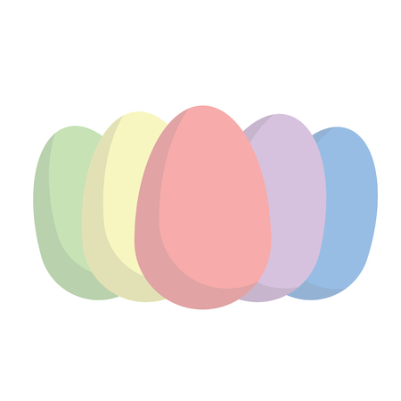 Colorful Easter Egg collection on white background