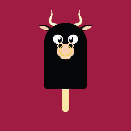 Ice cream in the shape of a Bull on dark red