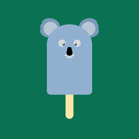 Ice cream in the shape of a Koala on dark green