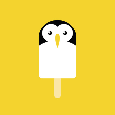 Ice cream in the shape of a Penguin on yellow