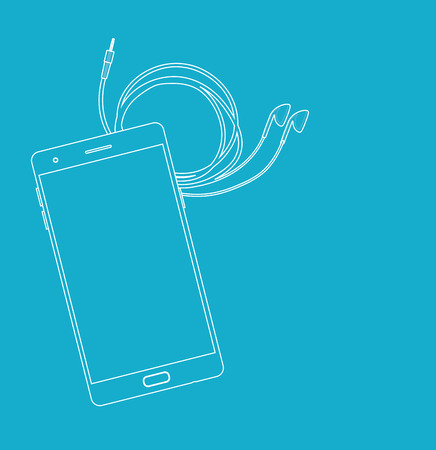 Smartphone and Earphones outlined style on light blue 일러스트
