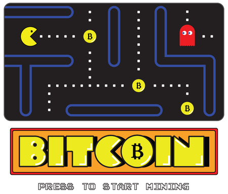 Bitcoin mining concept expressed as a videogame 向量圖像