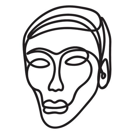 Rostro humano esbozado con una sola línea - negro sobre blanco Ilustración de vector