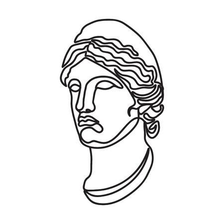 greek goddess continuous black single line style