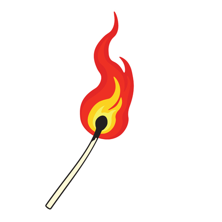 Match Fire aislado sobre fondo blanco. Ilustración de vector
