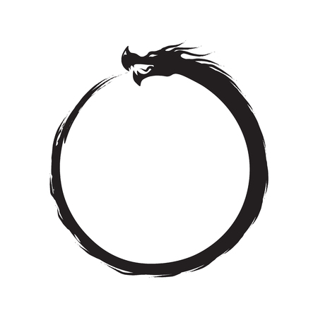 Ouroboros Infinity Symbol - black on white