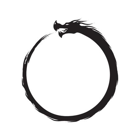 Simbolo dell'infinito di Ouroboros - nero su bianco Vettoriali