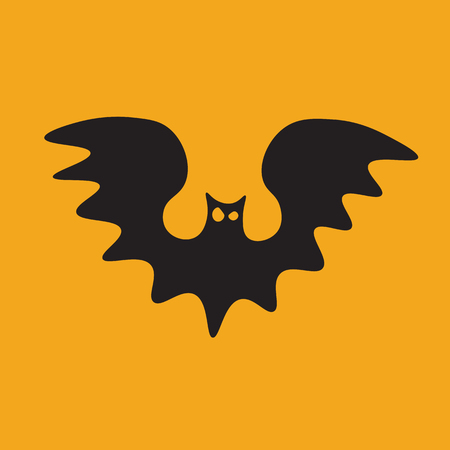 Halloween Icon: The Flying Bat (Orange Background)