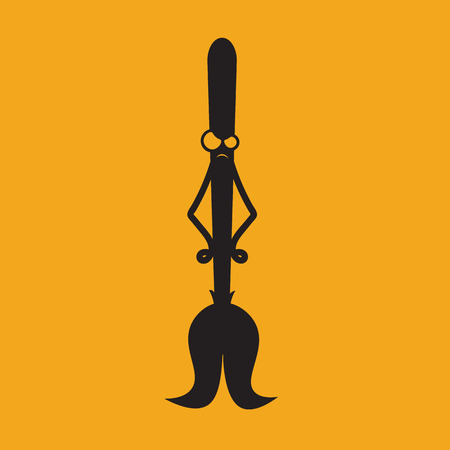 Halloween Icon: The Angry Broom (Orange Background)