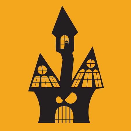 Halloween Icon: The Haunted House(Orange Background) Çizim