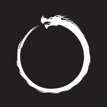 Ouroboros Infinity Symbol - white on black