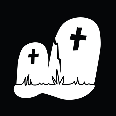 Halloween Icon: The Crooked Tombstones (Black Background)