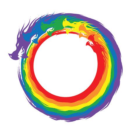 Infinity Rainbow Dragons - white background