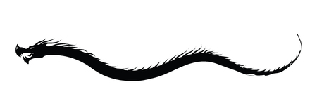 Dragon silhouette floating crawling - white background Illustration
