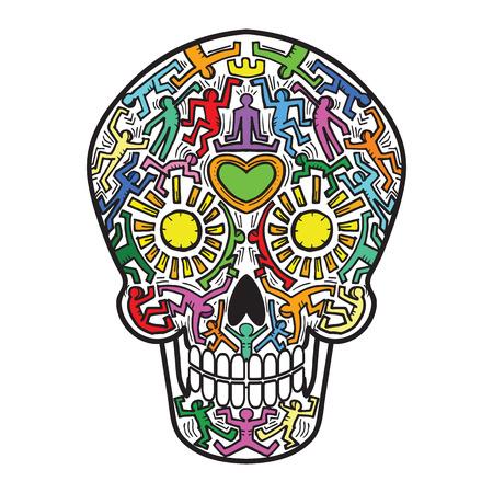 Mexican Calavera Skull street art theme - isolated Illustration