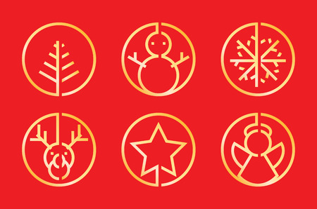 Christmas icon decoration golden minimal style