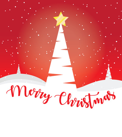 CHRISTMAS GREETING CARD WITH TREE AND MERRY CHRISTMAS TEXT
