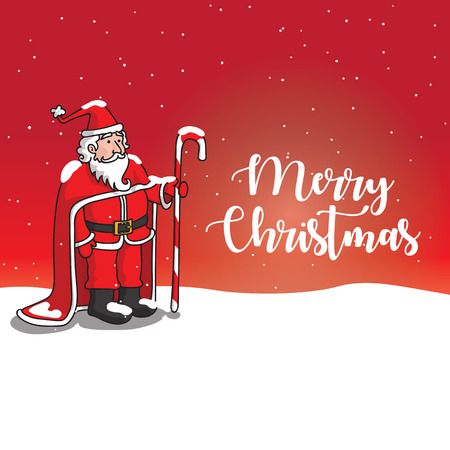 SANTA CLAUS with Snowfall Greetings Card