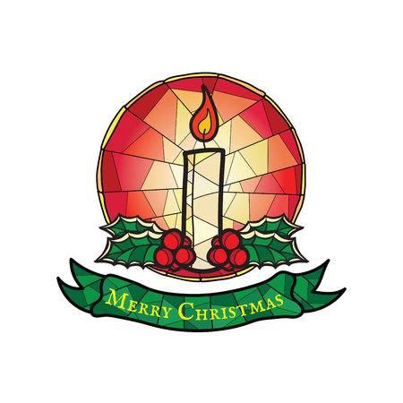Christmas Candle with Holly - Stained Glass Style Symbol isolated