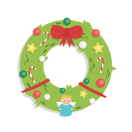 Christmas Garland - Cartoon Flat Style - isolated