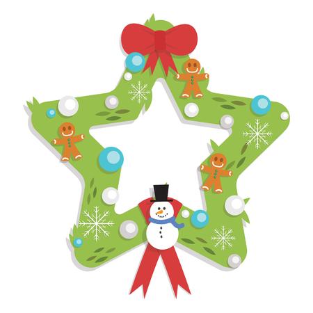 Christmas Star Shaped Garland - Cartoon Flat Style - isolated