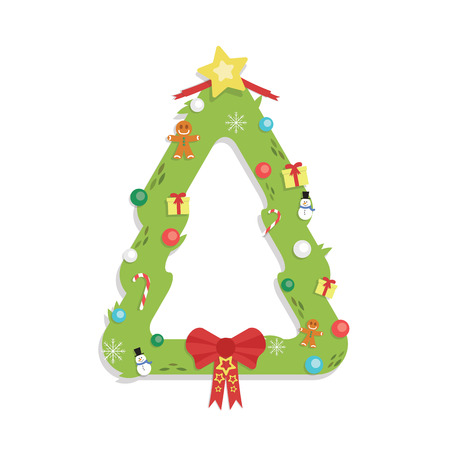 Christmas Tree Shaped Garland - Cartoon Flat Style - isolated white Иллюстрация