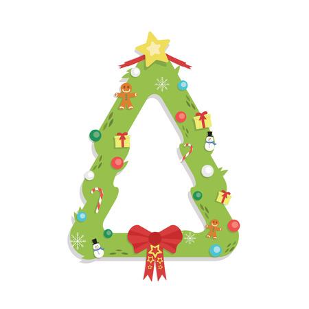 Christmas Tree Shaped Garland - Cartoon Flat Style - isolated white Illustration
