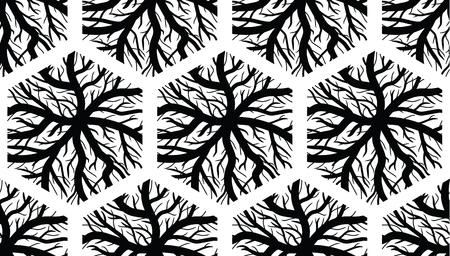Seamless Hexagonal Veins Texture - Black and White Design Illustration