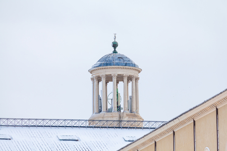 Saint Paul Cathedral rooftop detail after snowfall in winter
