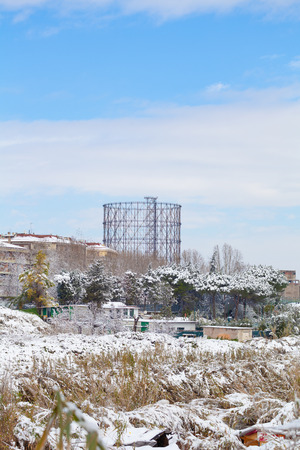 Gazometro view in Roma Ostiense after Snowfall Фото со стока