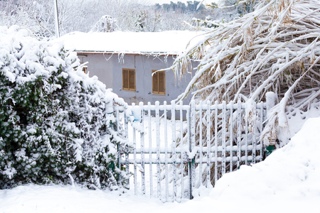 Little House Closed Gate after a long snowfall (Rome)