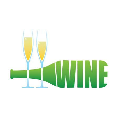 Wine Bottle and two glasses  illustration isolated Illustration