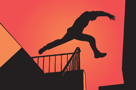 Man Silhouette in Parkour Jumping