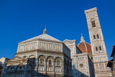 Florence: San Giovanni Baptistery and Duomo Santa Maria del Fiore view in morning light