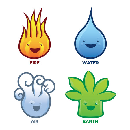 Four Elements Characters - Fire Water Air Earth isolated on white