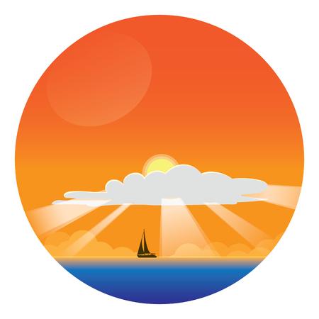 Summer Vacation Concept landscape - circle sticker Illustration