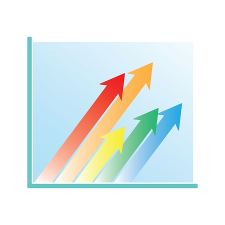 Business Growth Chart Oblique Arrows isolated on white