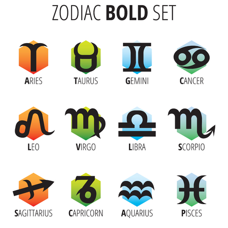 Zodiac Sign Bold Set - Hexagon Shape on white